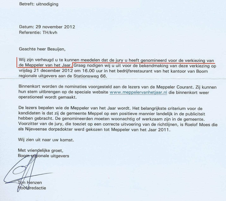 29-11-2012 Nominatie Meppeler van het jaar 2012